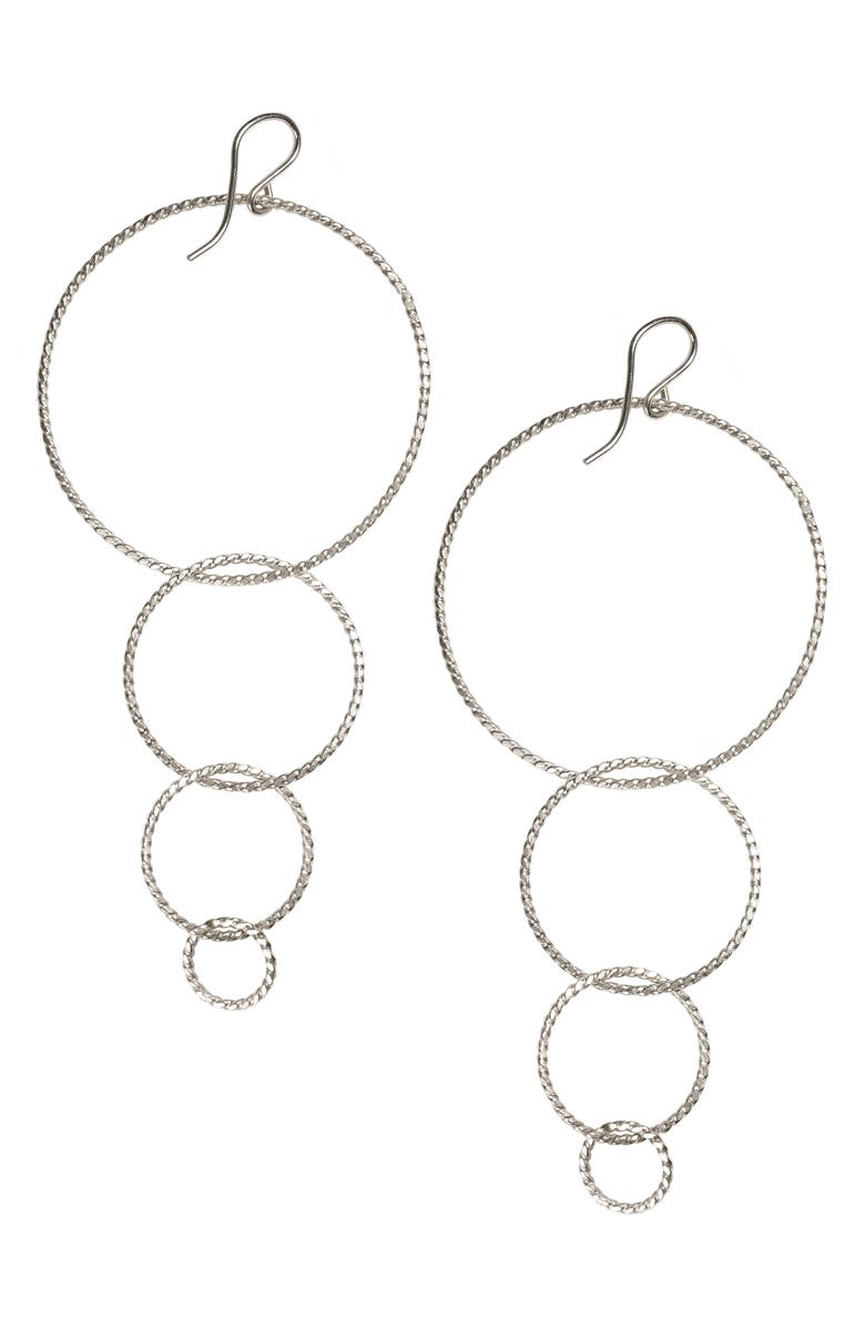 NASHELLE Twisted Hoops Drop Earrings, Main, color, Silver