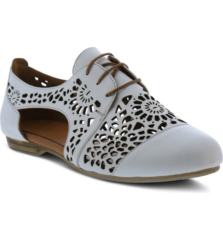 SPRING STEP Theone Cutout Derby Flat, Main, color, WHITE LEATHER