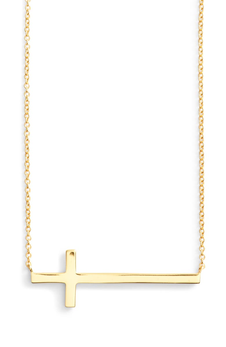 ARGENTO VIVO STERLING SILVER Argento Vivo Modern Sideways Cross Pendant Necklace, Main, color, GOLD
