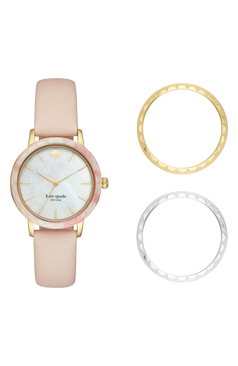 KATE SPADE NEW YORK morningside scallop watch set, 34mm, Main, color, 650