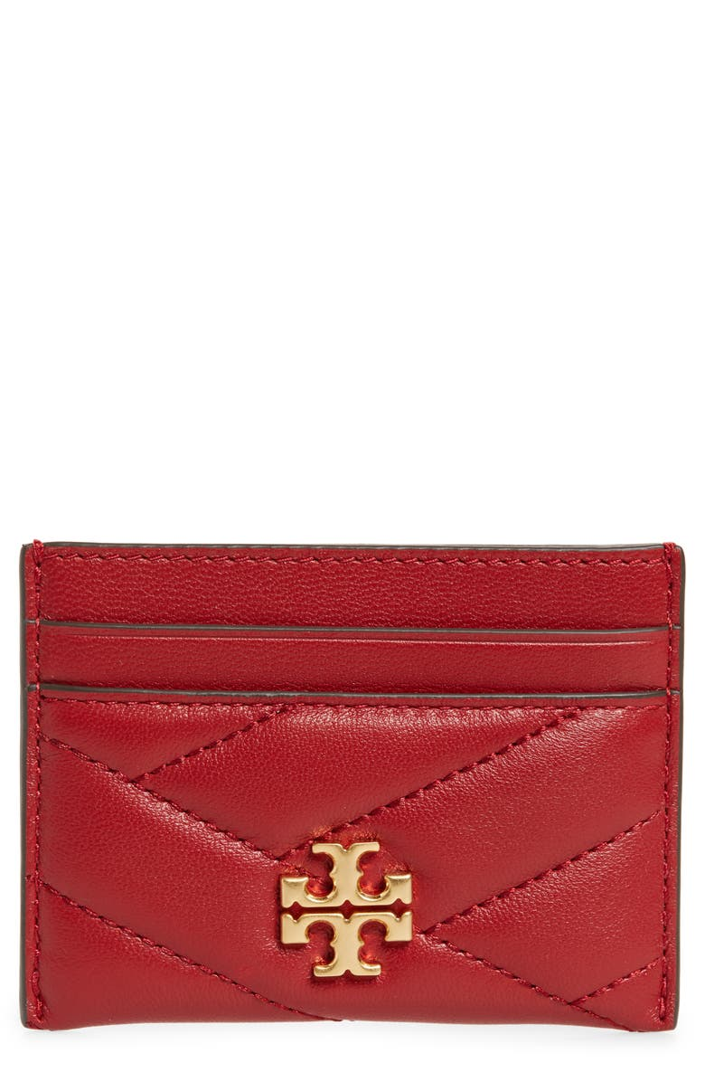 TORY BURCH Kira Chevron Leather Card Case, Main, color, REDSTONE/ ROLLED BRASS