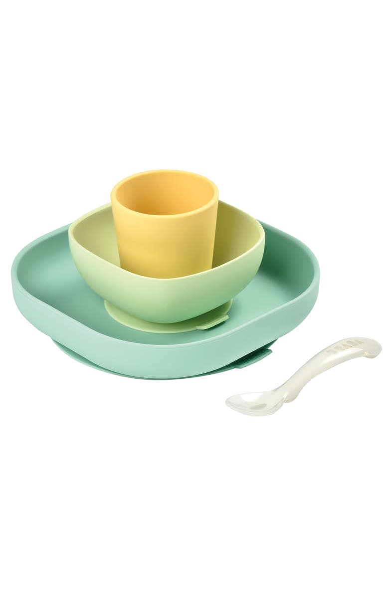 BEABA 4-Piece Silicone Suction Baby Feeding Set, Main, color, PASTEL
