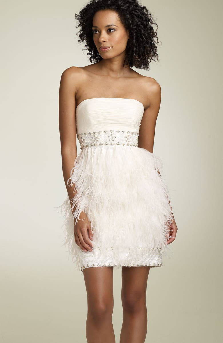 SUE WONG Strapless Dress with Ostrich Feathers, Main, color, 101