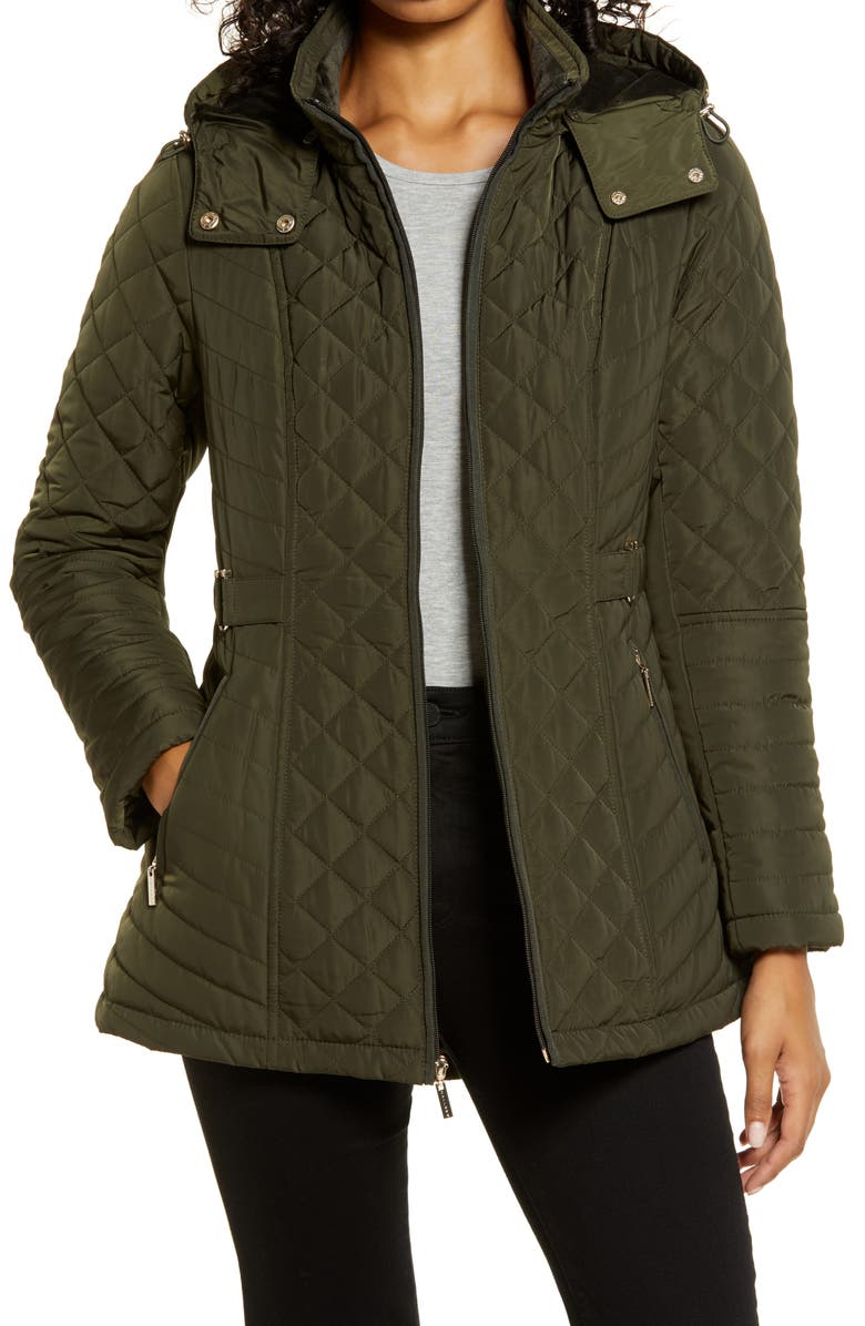 GALLERY Quilted Hooded Jacket, Main, color, DEEP OLIVE