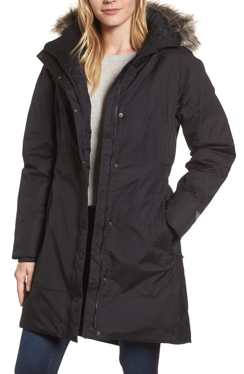 THE NORTH FACE Arctic II Waterproof 550-Fill-Power Down Parka with Faux Fur Trim, Main, color, 001