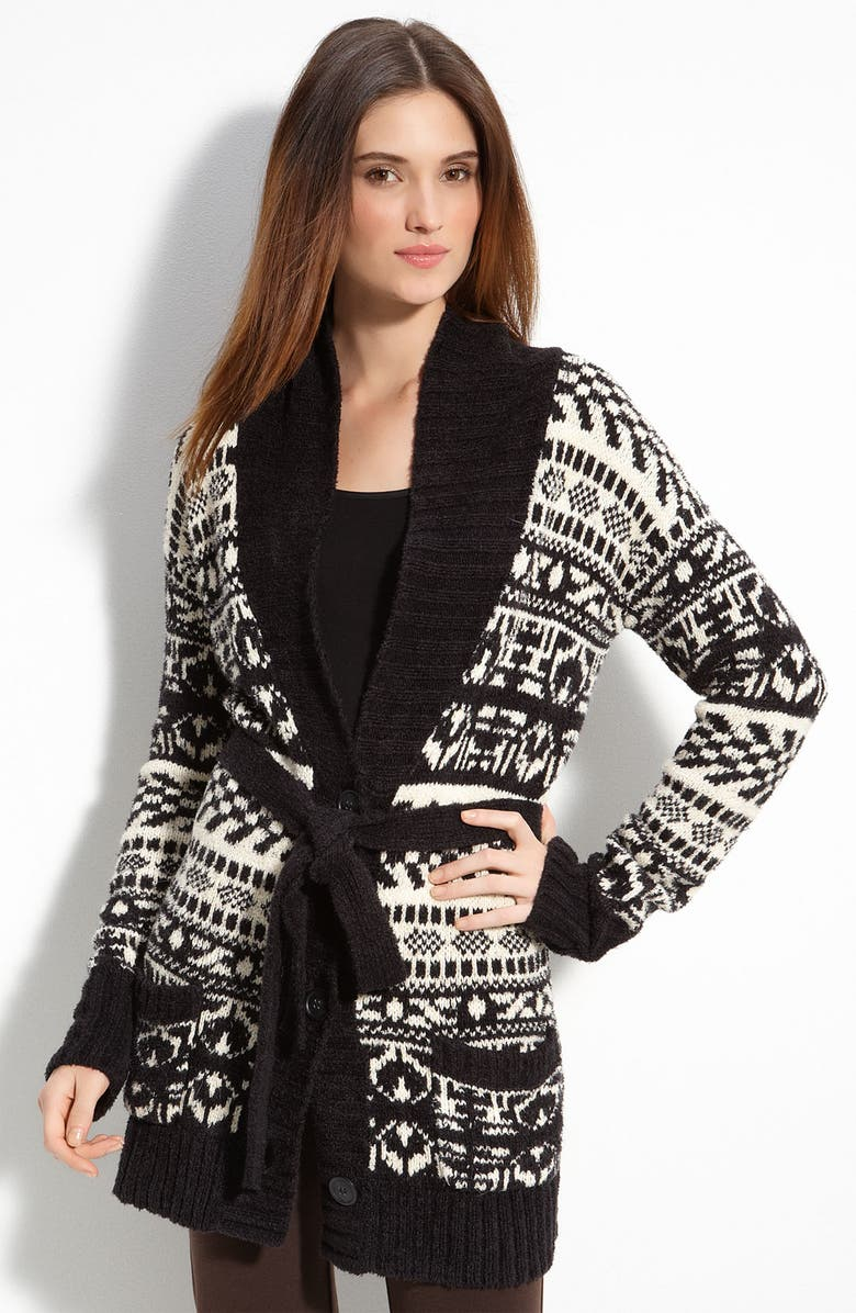 DKNYC Fair Isle Belted Cardigan, Main, color, 005