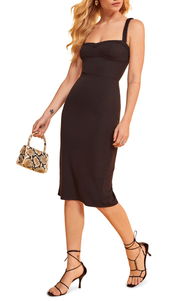 REFORMATION Napoli Sweetheart Neck Dress, Main, color, 001