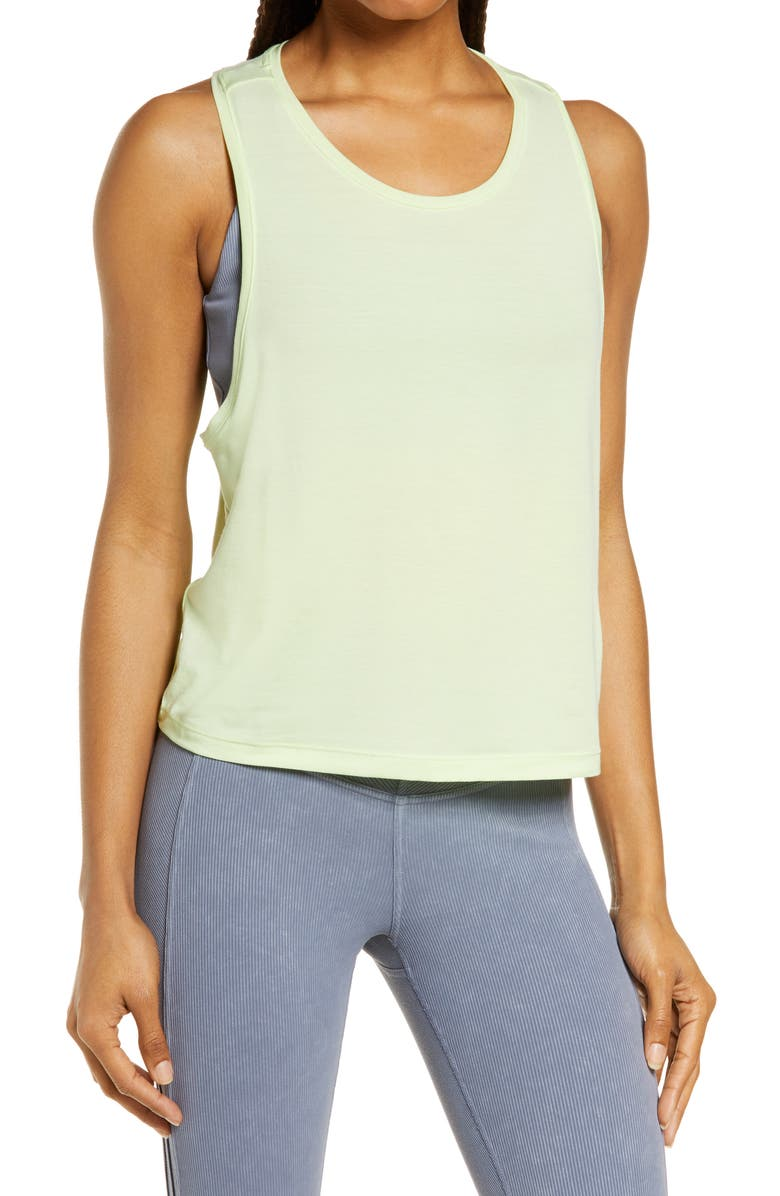 ZELLA Work For It Tank Top, Main, color, GREEN BUTTERFLY