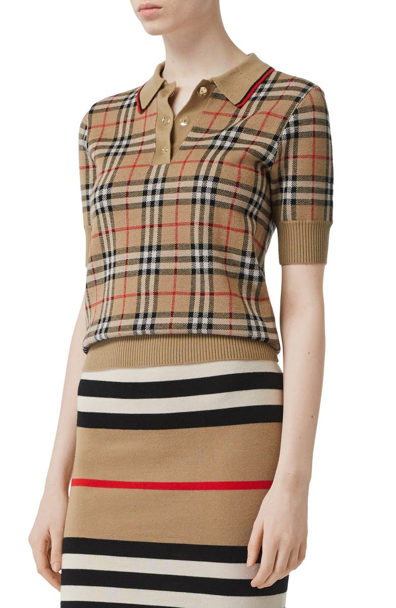 BURBERRY Chatterton Archive Check Merino Wool Polo Sweater, Main, color, 250