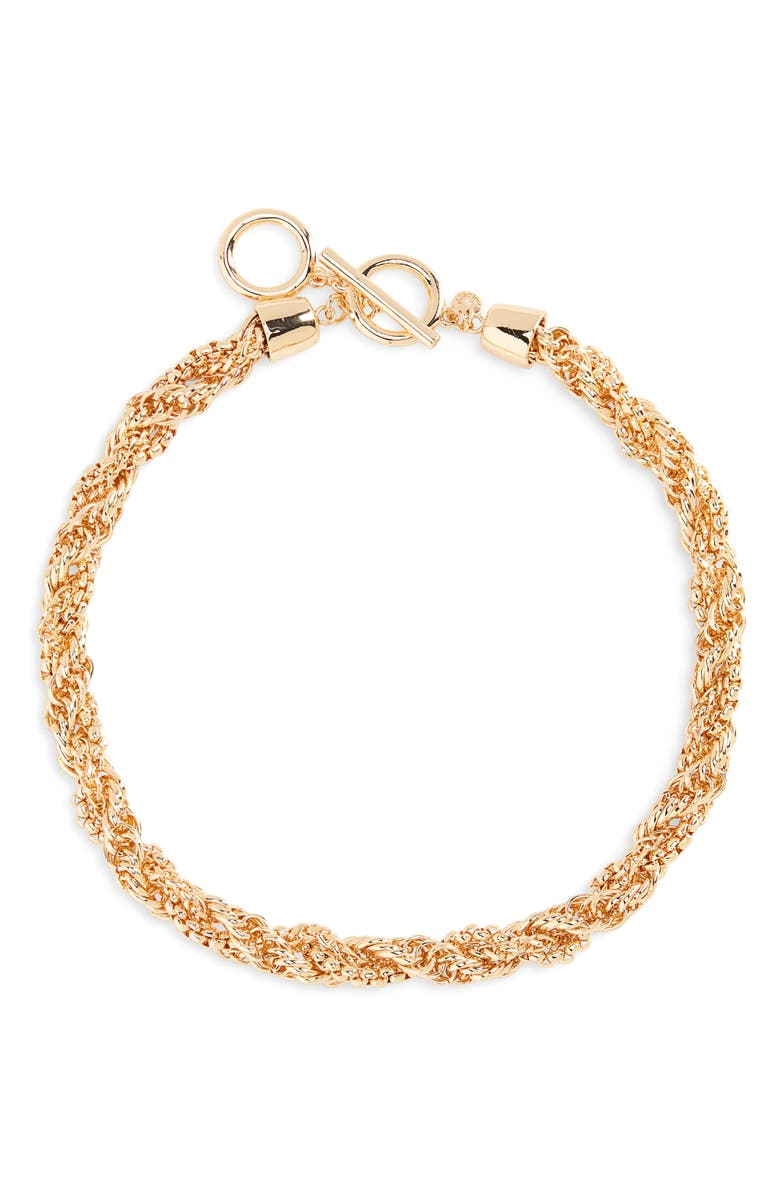 NORDSTROM Halogen<sup>®</sup> Twisted Chain Collar Necklace, Main, color, GOLD