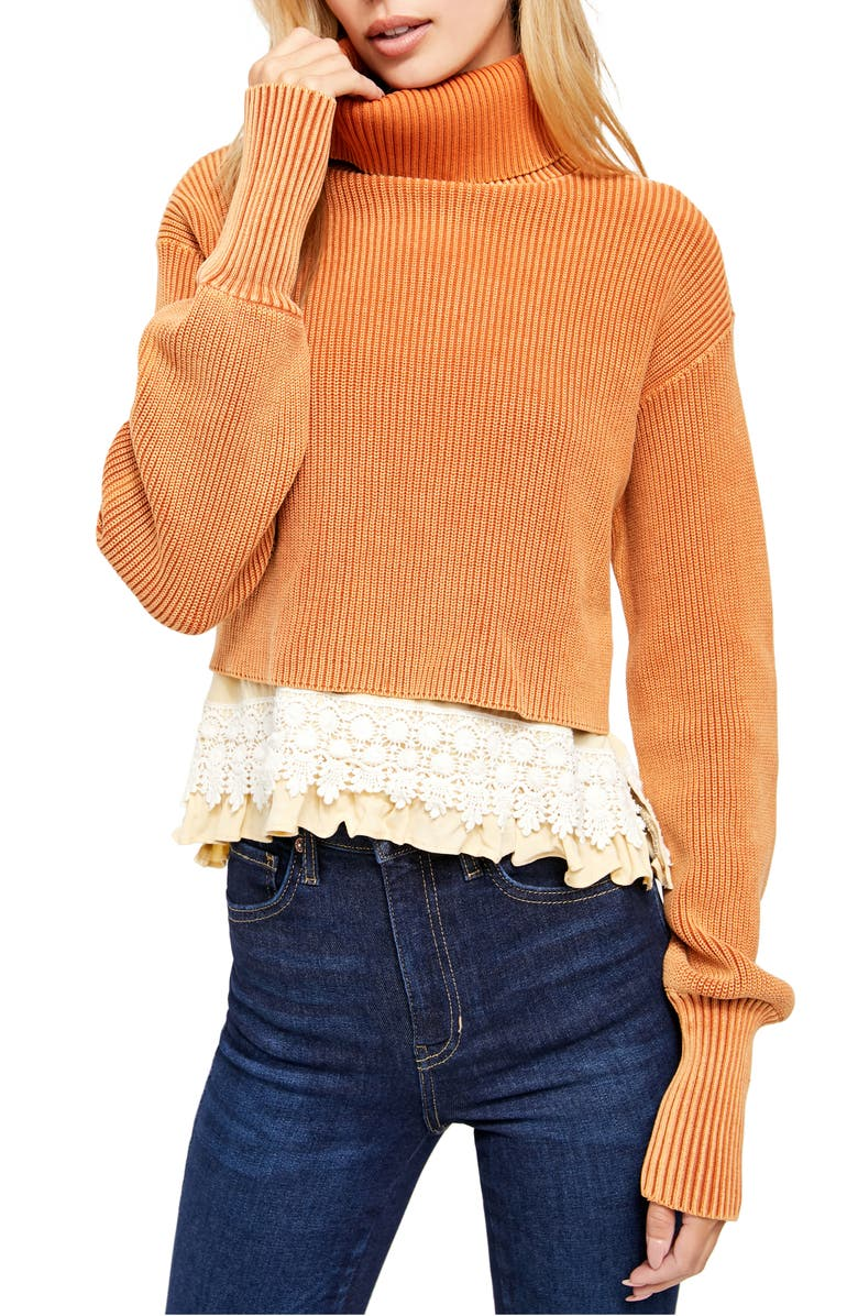 FREE PEOPLE At First Glance Crochet Hem Turtleneck Sweater, Main, color, 812