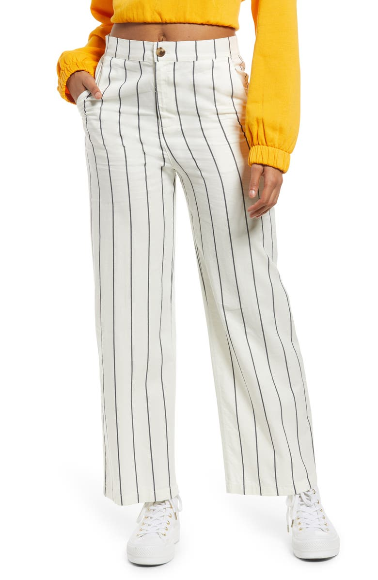 BP. Straight Leg Pants, Main, color, IVORY- NAVY STRIPE