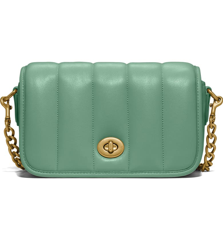 COACH Originals Quilties Leather Crossbody Bag, Main, color, BRASS/ WASHED GREEN