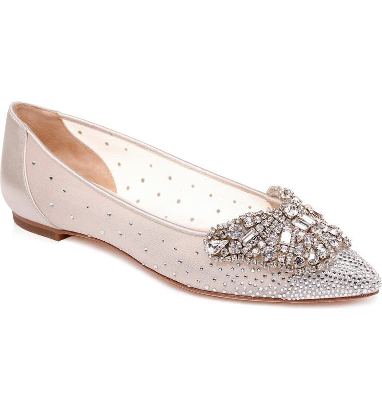 BADGLEY MISCHKA COLLECTION Quinn Embellished Pointed Toe Flat, Main, color, IVORY SATIN/ MESH