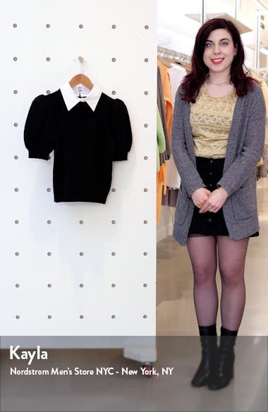 Chase Puff Sleeve Wool Blend Sweater with Removable Collar, sales video thumbnail
