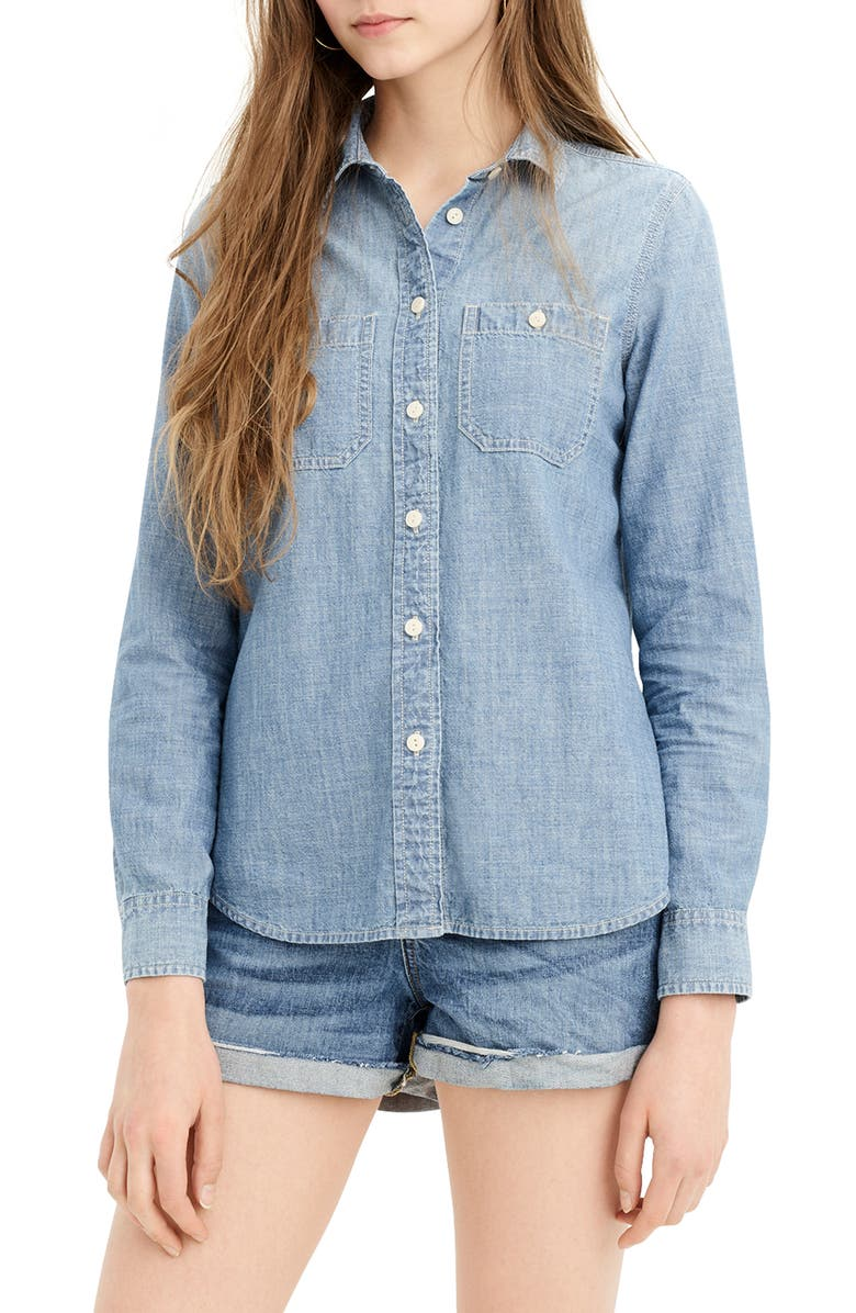 J.CREW Button-Up Japanese Denim Shirt, Main, color, 400