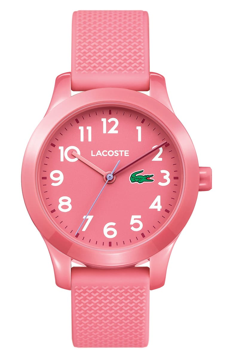 LACOSTE Kids 12.12 Silicone Strap Watch, 32mm, Main, color, Pink