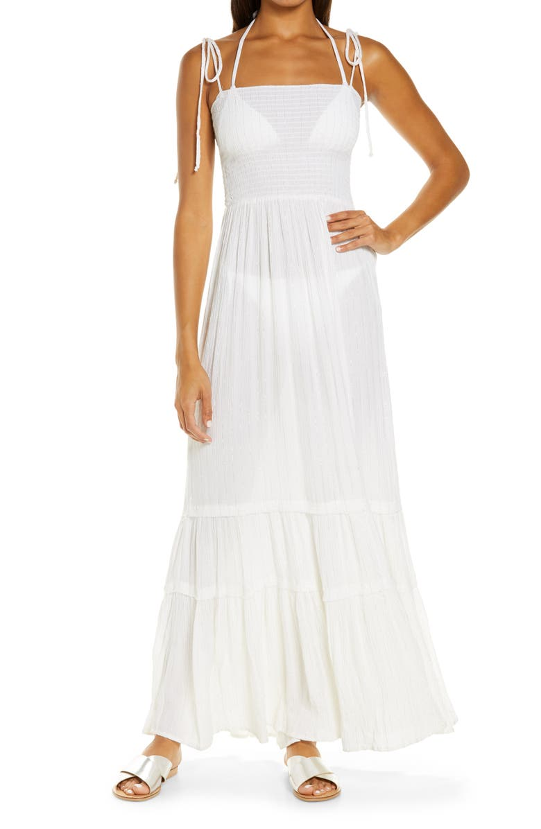 ELAN Smocked Tie Strap Tiered Cover-Up Dress, Main, color, WHITE