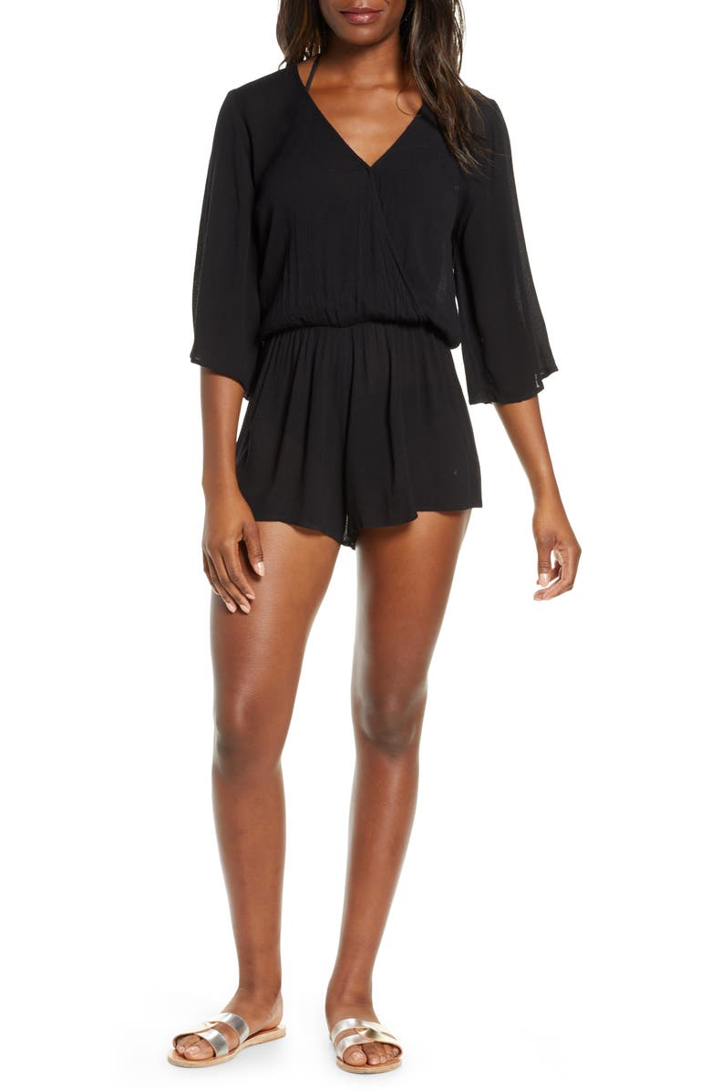 ELAN Stripe Cover-Up Romper, Main, color, BLACK