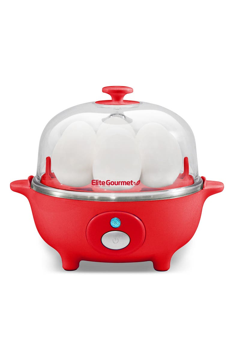 MAXI-MATIC Elite Cuisine EGC-007R Automatic Easy Egg Cooker - Red, Main, color, RED