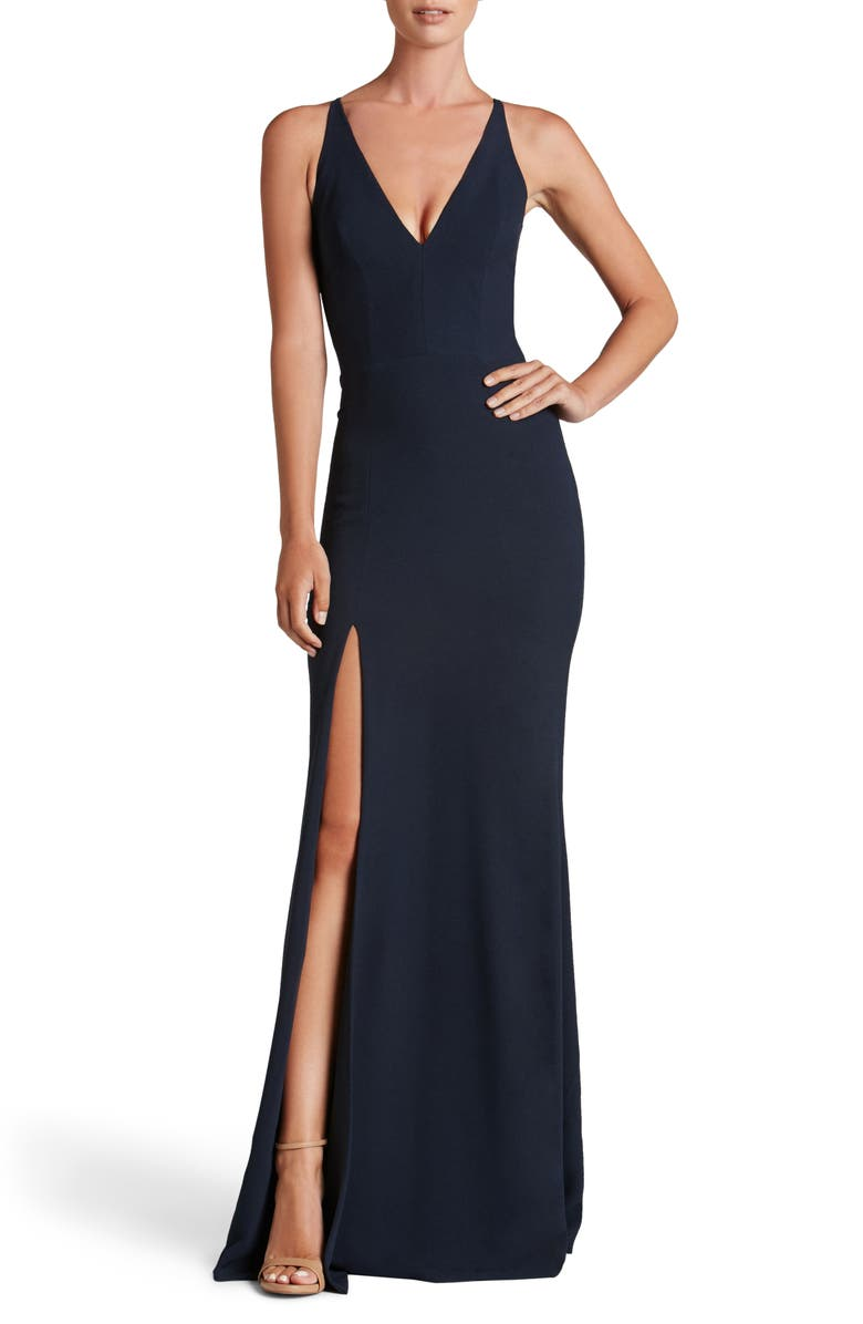 DRESS THE POPULATION Iris Crepe Trumpet Gown, Main, color, MIDNIGHT BLUE