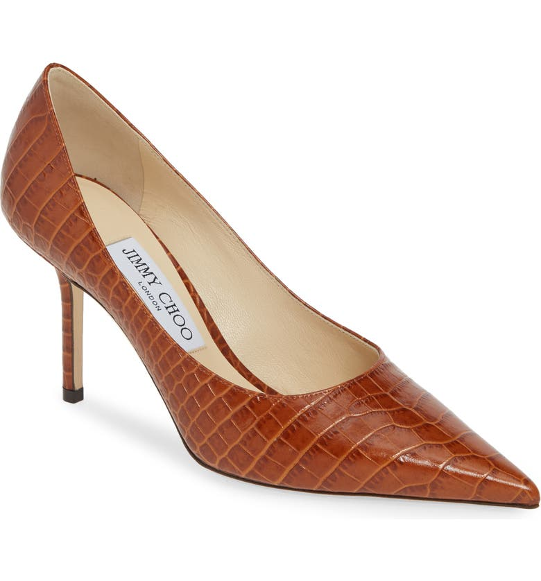 JIMMY CHOO Love Croc Embossed Pointed Toe Pump, Main, color, 230