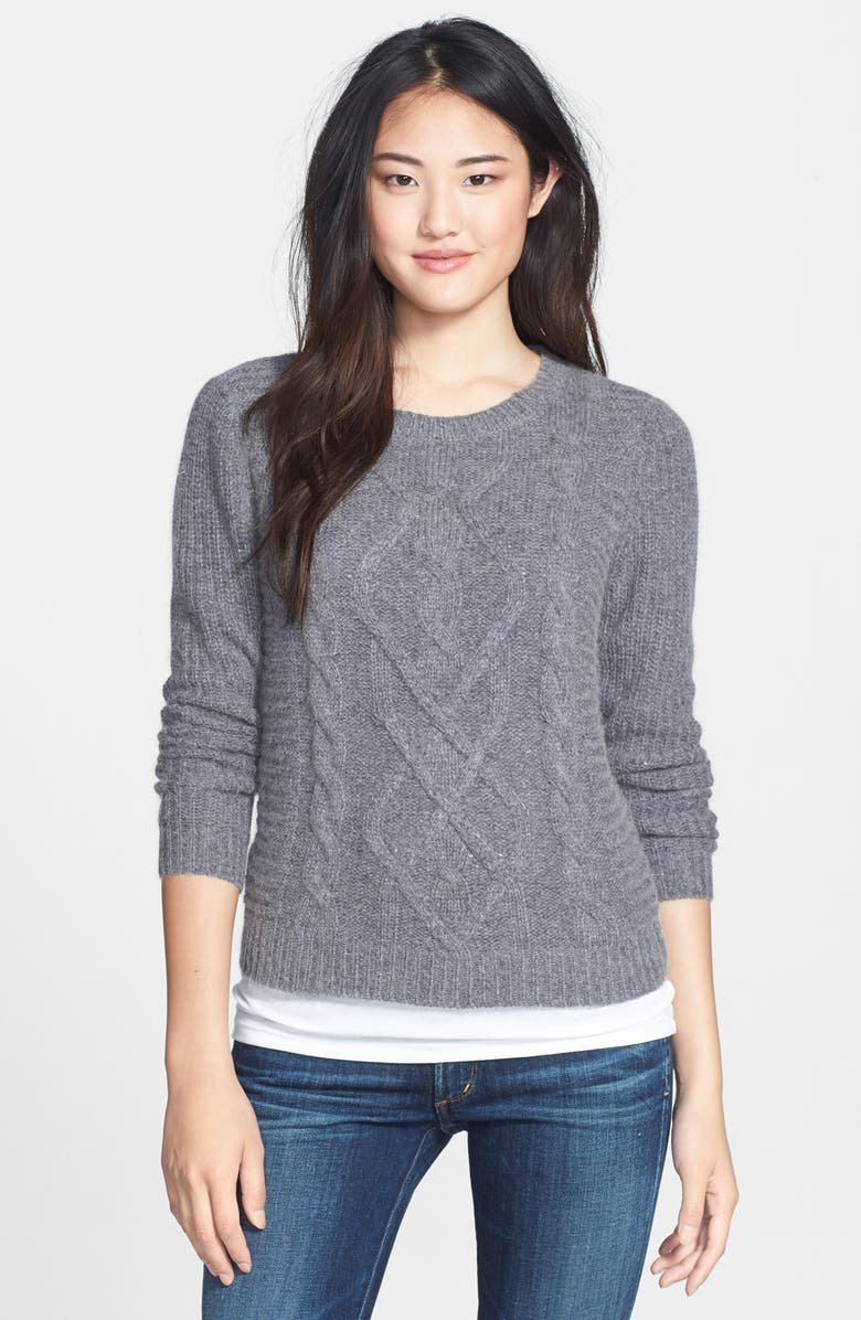 CASLON<SUP>®</SUP> Cable Knit Sweater, Main, color, MEDIUM HEATHER GREY