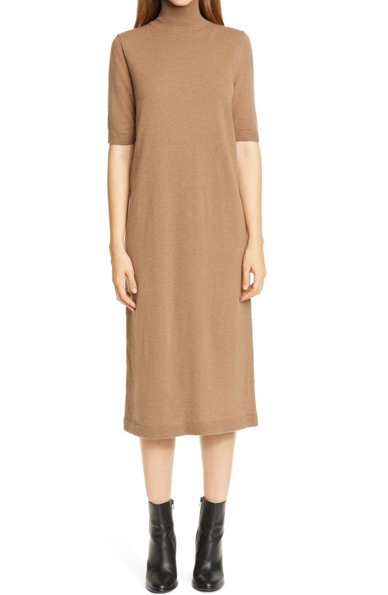 LAFAYETTE 148 NEW YORK Turtleneck Wool & Cashmere Midi Sweater Dress, Main, color, CAMMELLO MELANGE