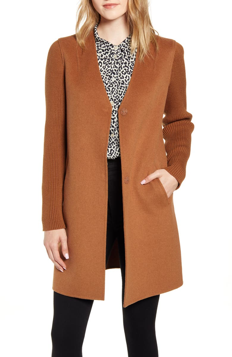 KENNETH COLE NEW YORK Knit Sleeve Double Face Wool Blend Coat, Main, color, VICUNNA