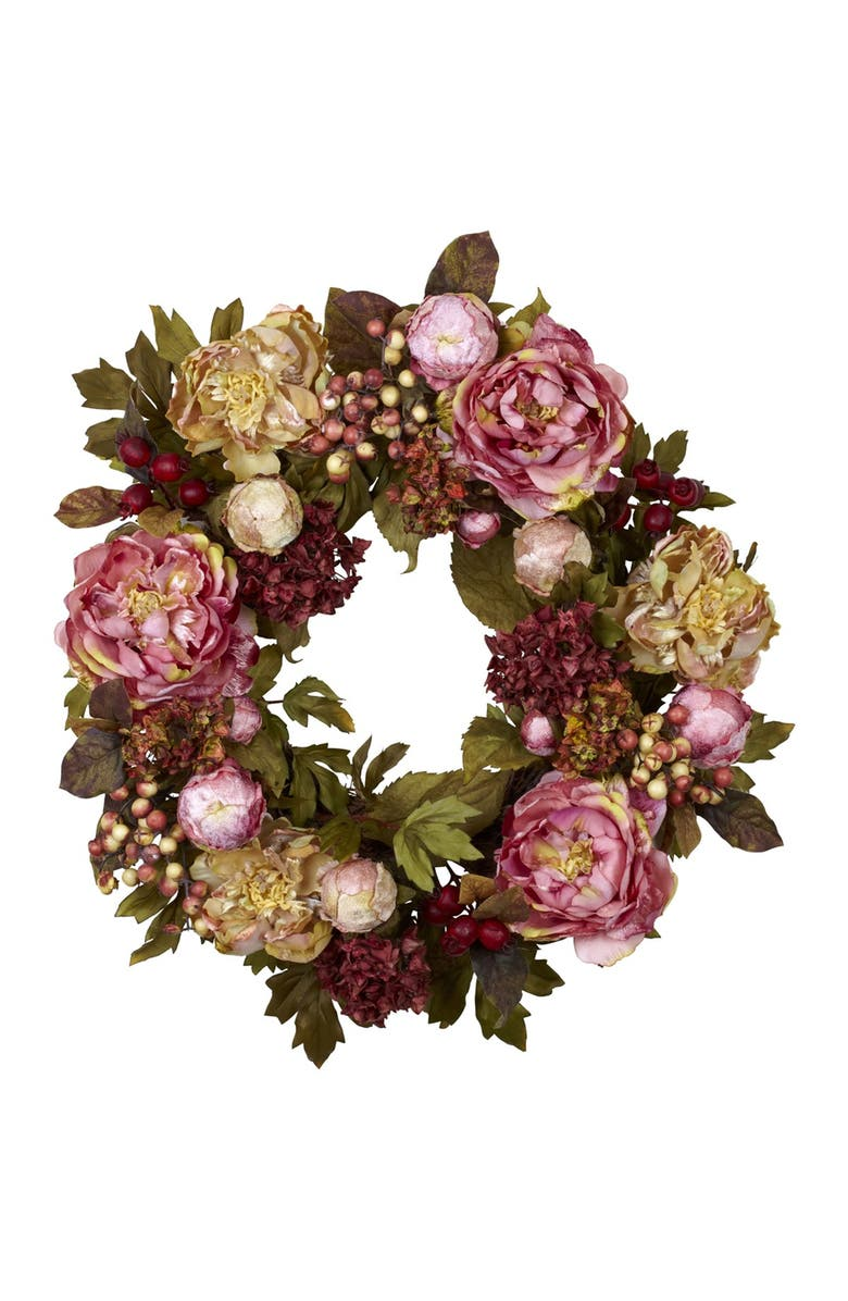 """NEARLY NATURAL Red 24"""" Peony Hydrangea Wreath, Main, color, AUTUMN"""