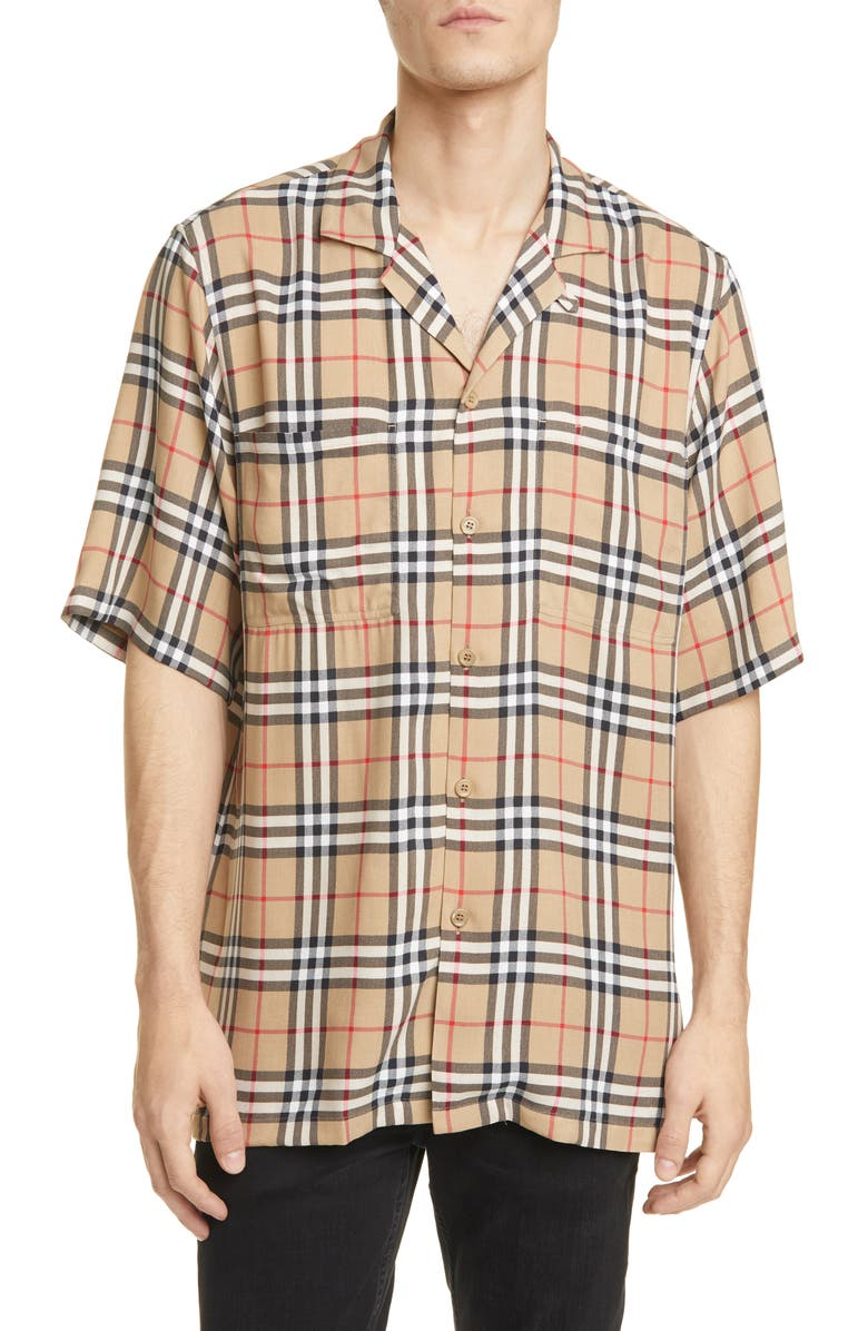 BURBERRY Raymouth Check Short Sleeve Button-Up Shirt, Main, color, 250