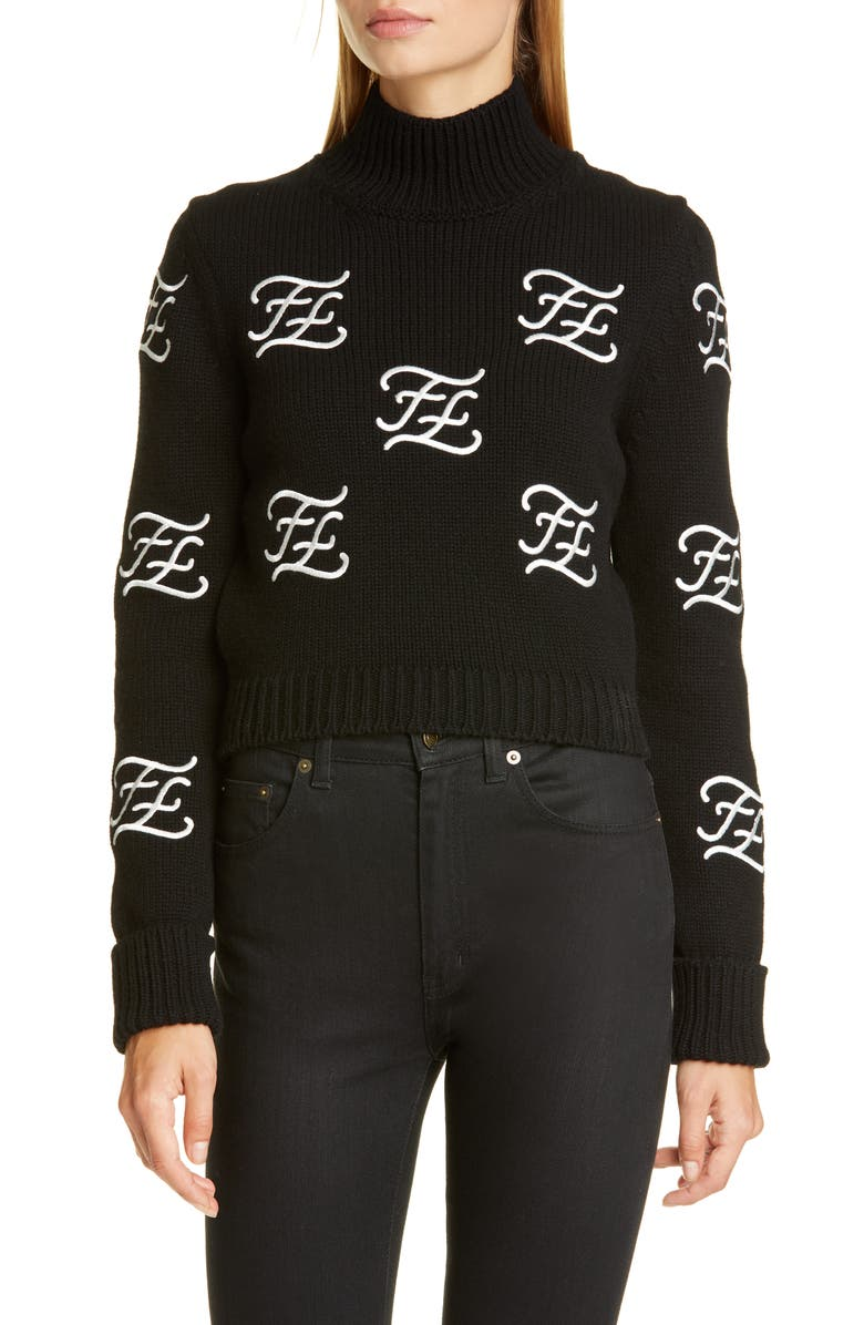 FENDI Logo Embroidered Crop Wool & Cashmere Sweater, Main, color, 001