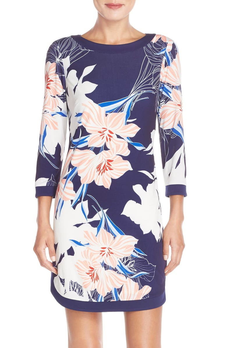 VINCE CAMUTO Floral Jersey Shift Dress, Main, color, 410