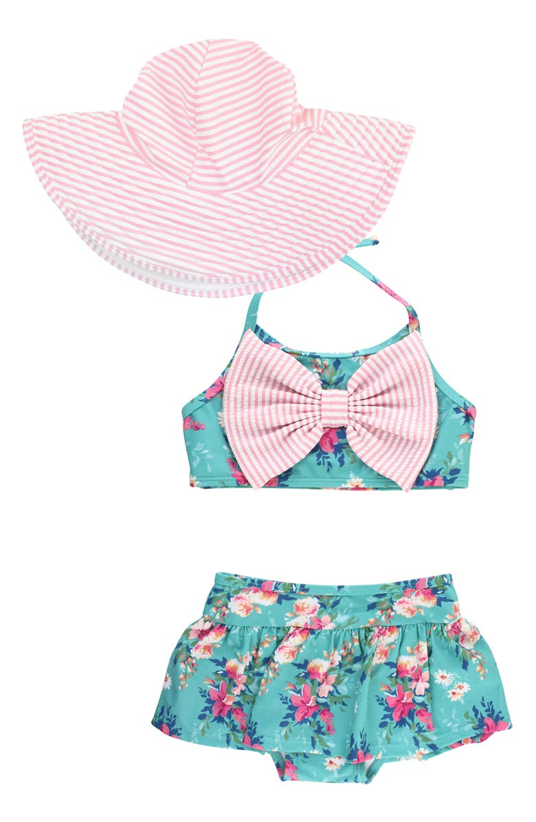 RUFFLEBUTTS Fancy Me Two-Piece Swimsuit & Hat Set, Main, color, Green