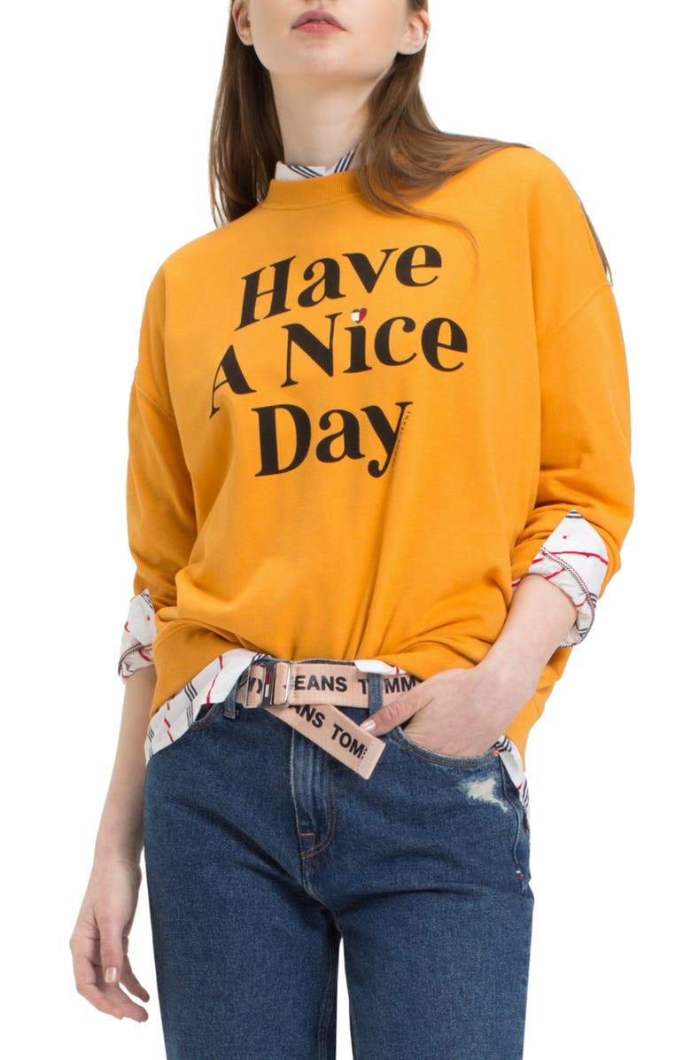 TOMMY JEANS TJW Have A Nice Day Sweatshirt, Main, color, 801