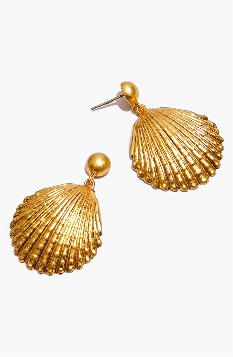 MADEWELL Shell Drop Earrings, Main, color, VINTAGE GOLD
