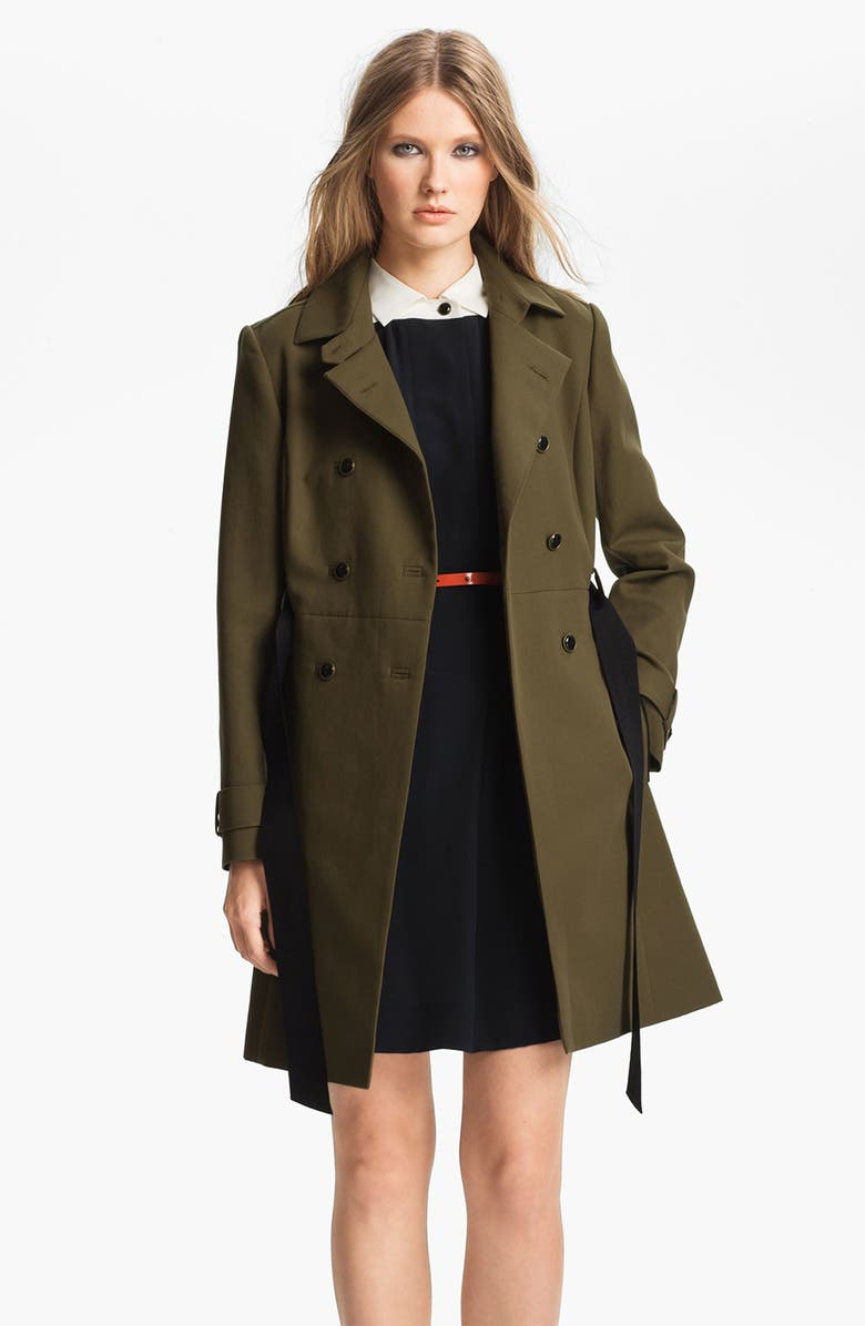 MISS WU Belted Cotton Trench Coat, Main, color, OLIVE