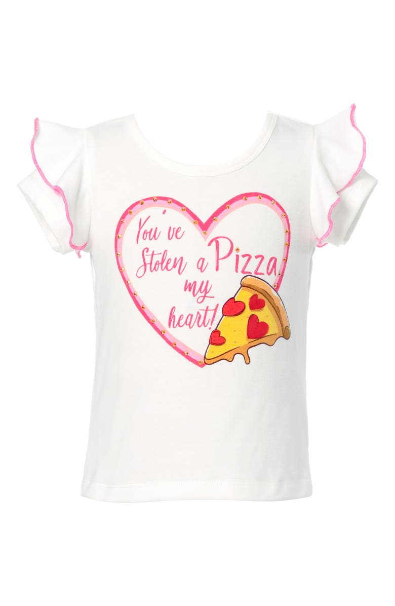 TRULY ME Kids' Pizza Heart Graphic Tee, Main, color, WHITE