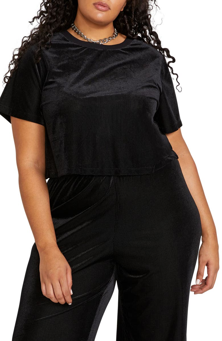 VOLCOM City at Night Crop Top, Main, color, BLACK