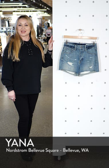High Waist Boyfriend Cutoff Denim Shorts, sales video thumbnail