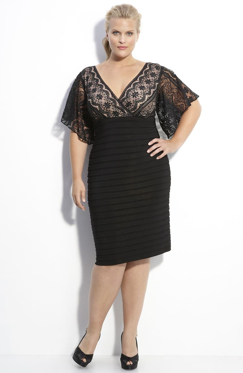 ADRIANNA PAPELL Lace & Knit Dress, Main, color, BLACK