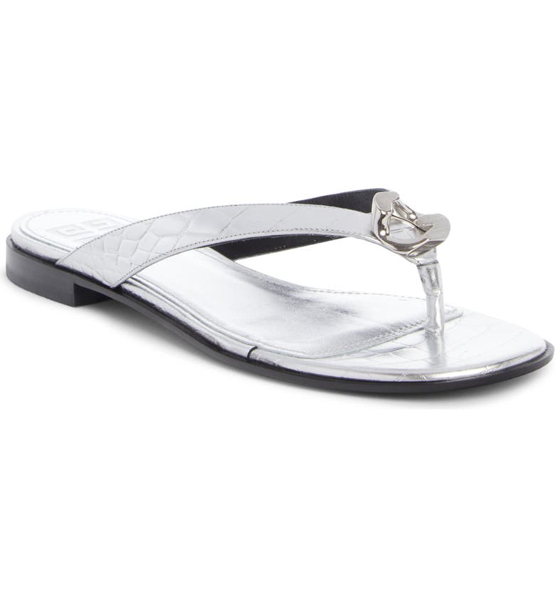GIVENCHY G Chain Flip Flop, Main, color, SILVER GREY