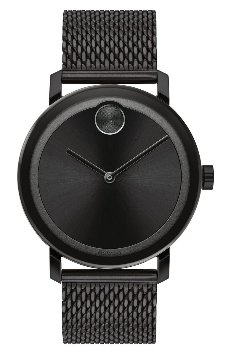 MOVADO Bold Evolution Mesh Bracelet Watch, 40mm, Main, color, BLACK