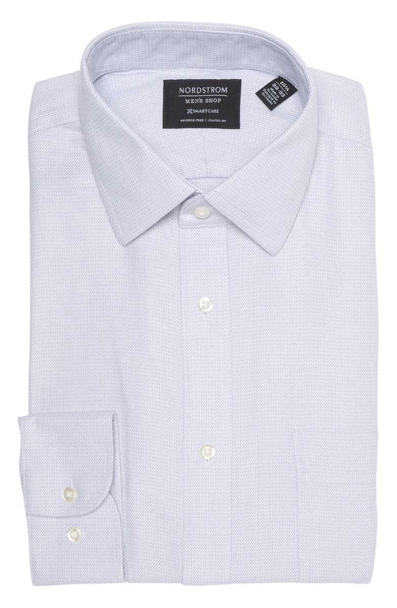 NORDSTROM MENS SHOP Patterned Wrinkle Free Classic Fit Shirt, Main, color, GREY INFINITY