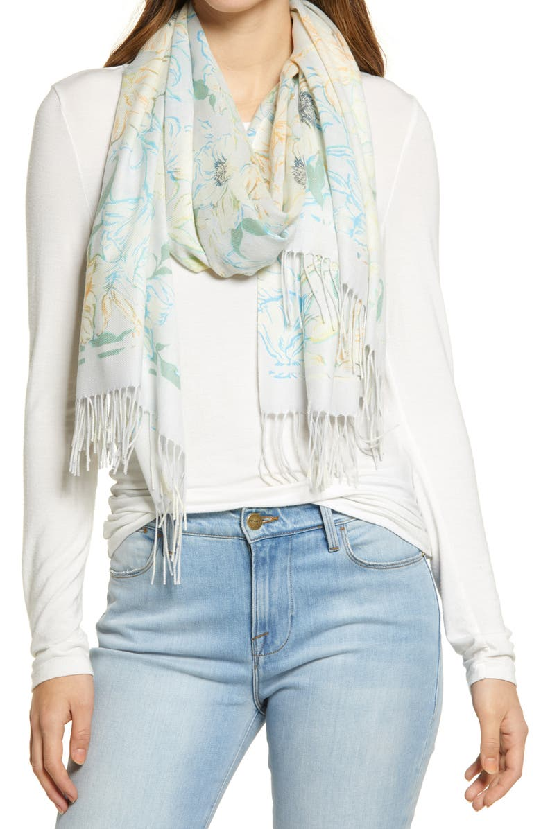 NORDSTROM Tissue Print Wool & Cashmere Wrap Scarf, Main, color, GREY BELLA FLORAL