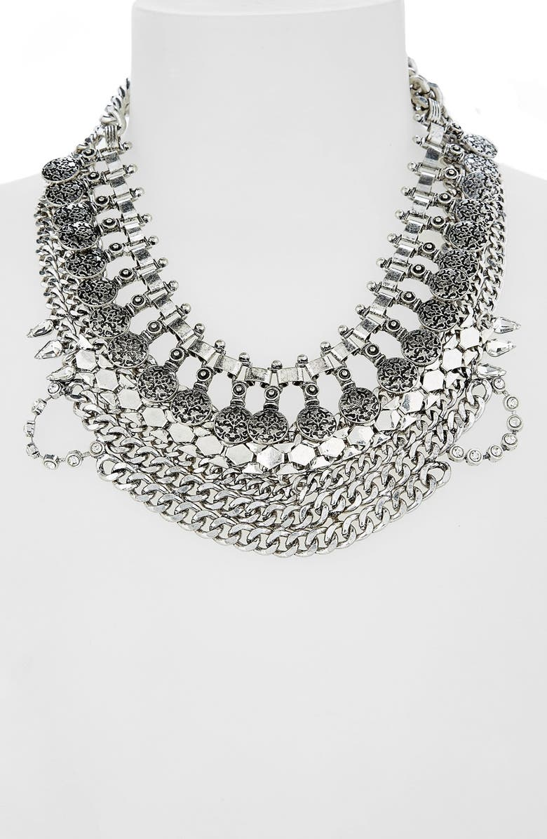 LEITH Coin & Crystal Statement Necklace, Main, color, Silver