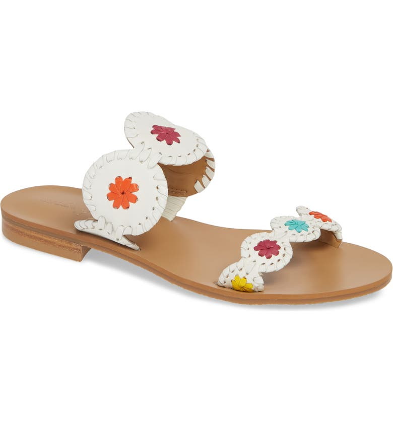 JACK ROGERS 'Lauren' Sandal, Main, color, WHITE MULTI LEATHER