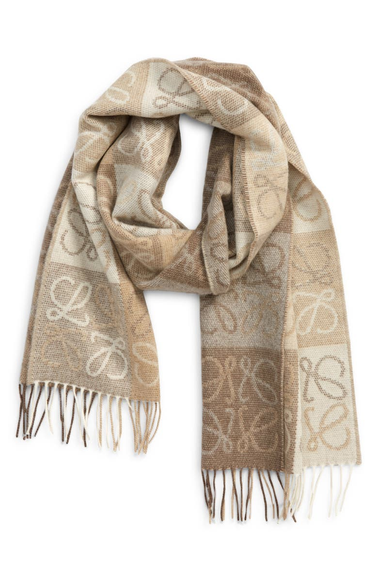 LOEWE Anagram Wool & Cashmere Scarf, Main, color, WHITE/ BEIGE