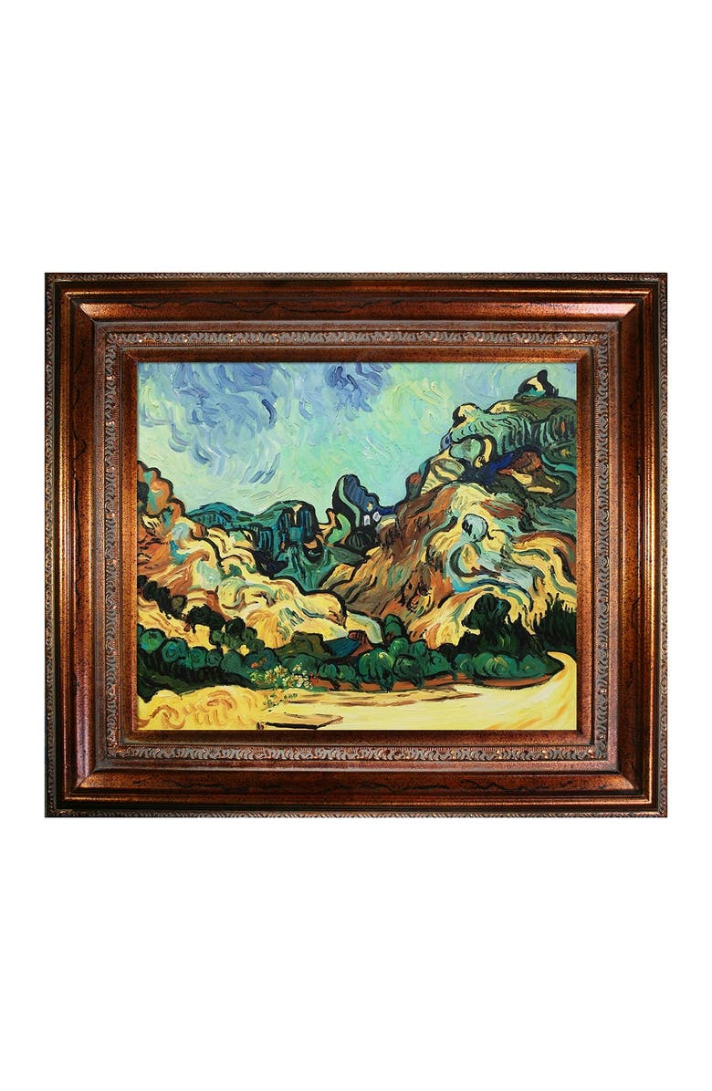 OVERSTOCK ART Mountains at St. Remy with Dark Cottage - Framed Oil reproduction of an original painting by Vincent Van Gogh, Main, color, MULTI