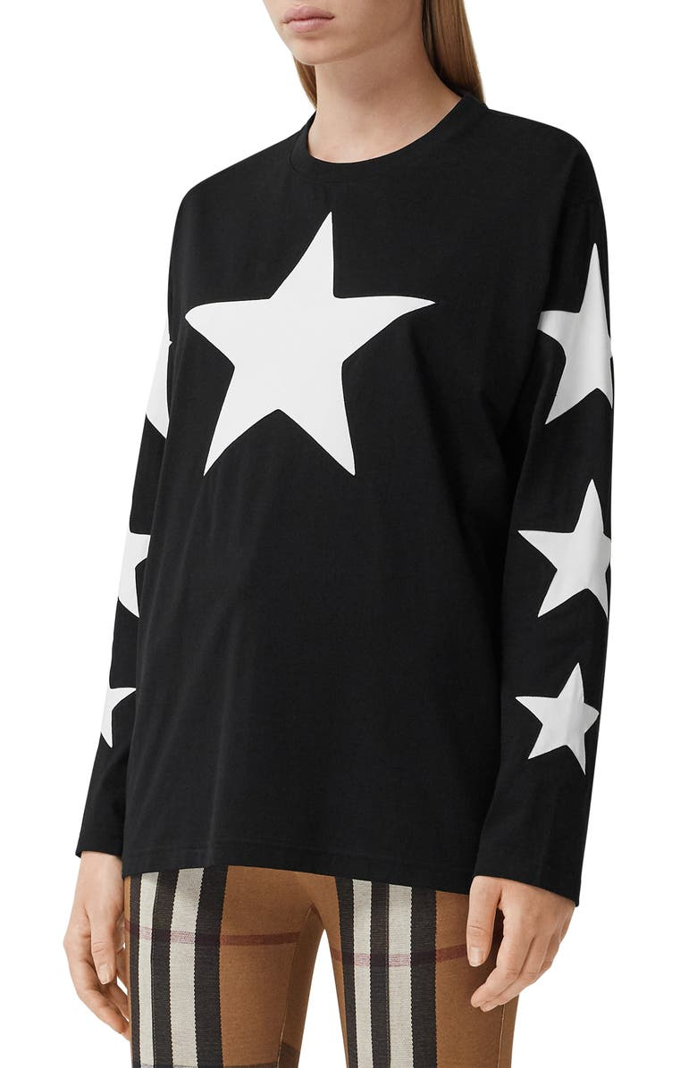 BURBERRY Creuse Star Graphic Tee, Main, color, Black